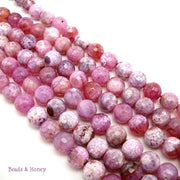 Pink White Fired Crackle Agate Round Faceted 8mm (Full Strand)