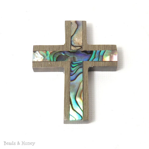 Graywood Cross with Abalone Shell Focal Pendant 40x30mm (1pc)