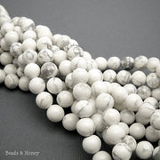Howlite Bead White Round Smooth 8-9mm (15 Inch Strand)