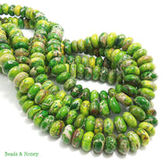 Impression Stone Bright Green Rondelle 12mm (Half Strand)