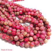 Impression Stone Bright Pink Round 8mm (Full Strand)