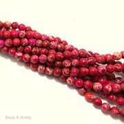 Impression Stone Red/Pink Round 6mm (Full Strand)