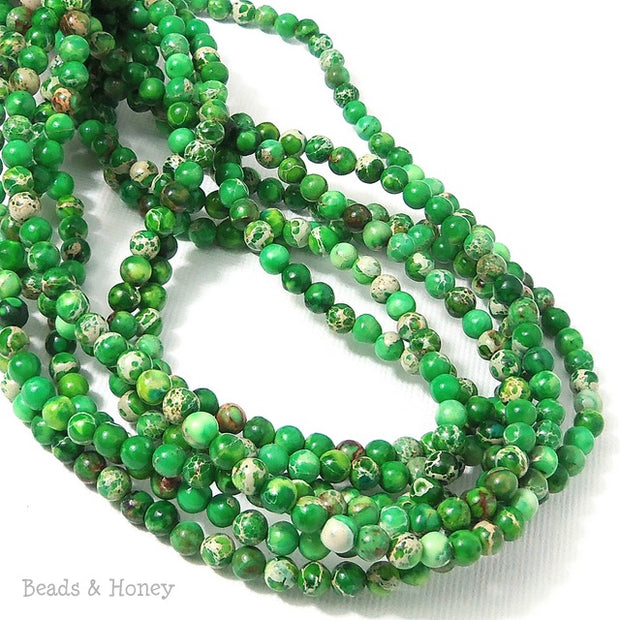 Impression Stone Bead Green Round 4mm (Full Strand)