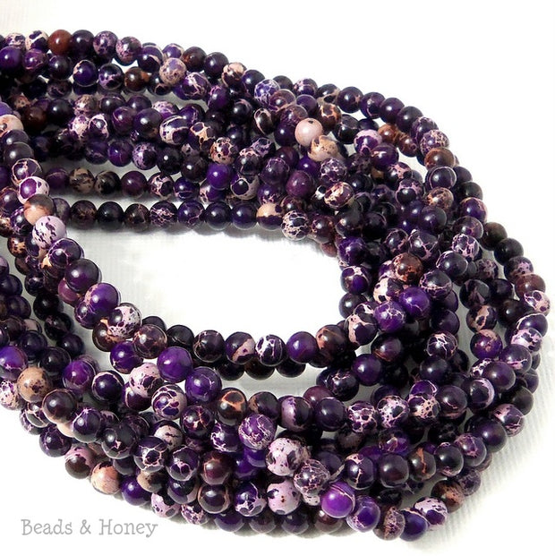 Impression Stone Bead Dark Purple Round 4mm (16 Inch Strand)