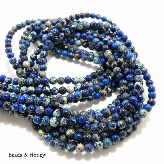 Impression Stone Bead Dark Blue Round 4mm (16 Inch Strand)