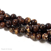 Chocolate Brown Fired Agate Round Smooth 10mm (Full Strand)