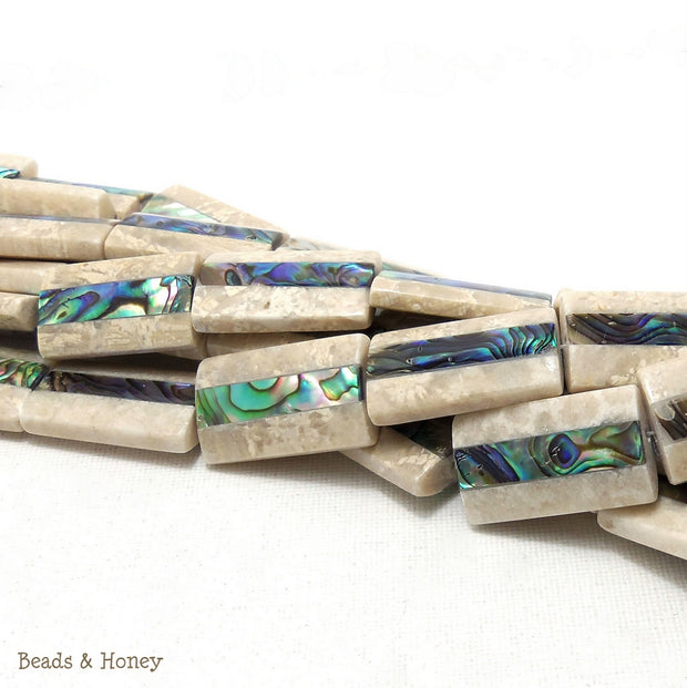 Mactan Stone Inlaid Abalone Shell Rectangle 28x15mm (1pc)