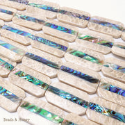 Mactan Stone Inlaid Abalone Shell Rounded Rectangle 23x40mm (1pc)