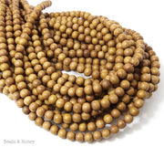 Madre de Cacao Wood Light Round 6-7mm (Full Strand)