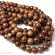 Madre de Cacao Wood Medium to Dark Round 10mm (16 Inch Strand)