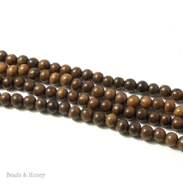 Magkuno Wood Gray-Brown Round 6-7mm (16 Inch Strand)