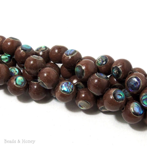 Magkuno Wood with Abalone Shell Inlay Round 10mm (8 Inch Strand)