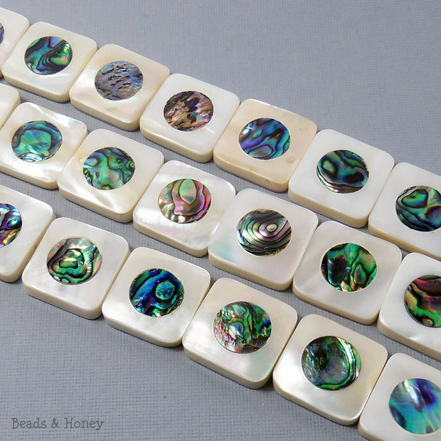 Makabibi Shell Inlaid Abalone Shell Square 20mm (3pcs)