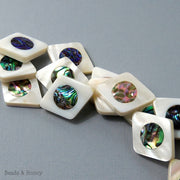 Makabibi Shell Inlaid Abalone Shell Diamond 24x30mm (2pcs)
