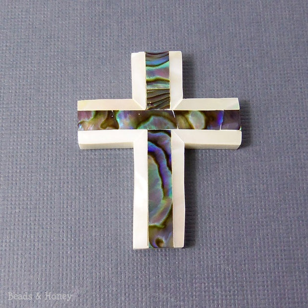 Makabibi Shell Cross with Abalone Shell Focal Pendant 40x30mm (1pc)