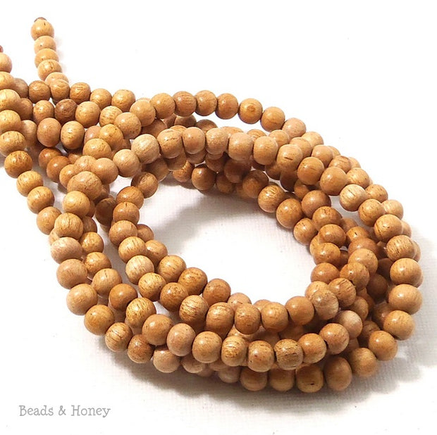 Meranti Wood Bead Dark Round 4mm (16 Inch Strand)