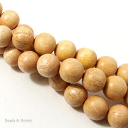 Meranti Wood Bead Light Round 14mm (16 Inch Strand)