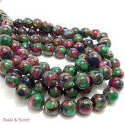 Rainbow Mosaic Agate Bead Round Smooth 10mm (15.5 Inch Strand)
