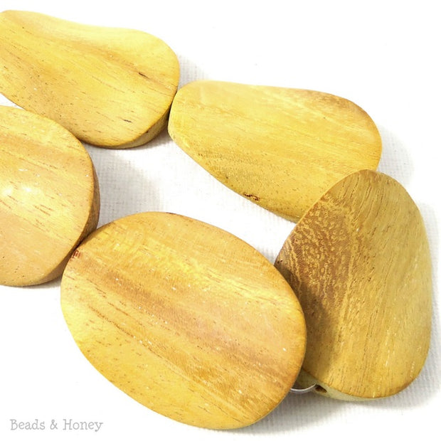Unfinished Nangka Wood Bead Oval Twist 30x40mm (5pcs)