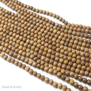 Narra Wood Light Round 6mm (Full Strand)