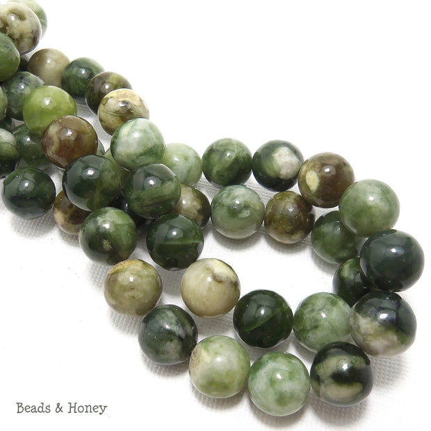 Nephrite (Jade) Green Cream Round Smooth 10mm (Full Strand)
