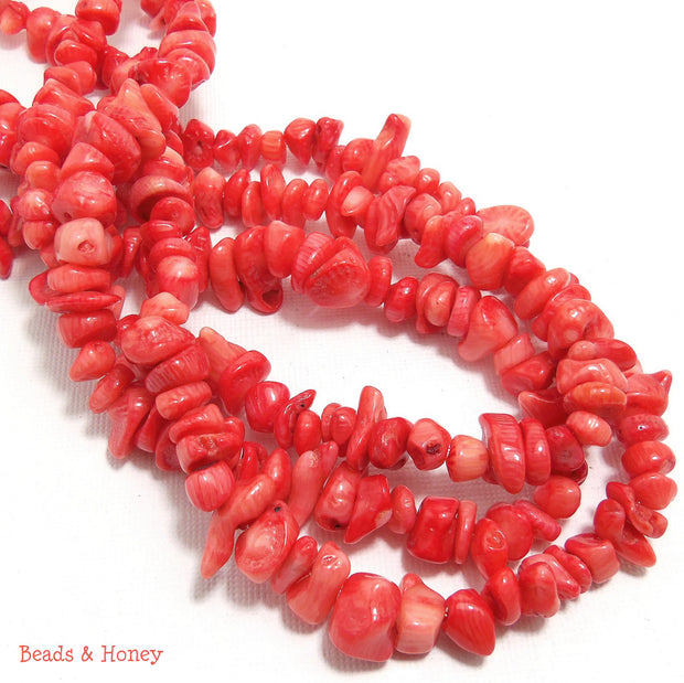 Peach Bamboo Coral Irregular Chips 6-10mm (Full strand)