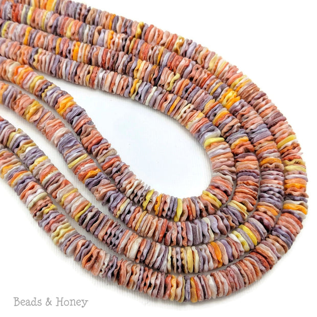 Pecten Shell Bead Multicolored Heishi 8mm (16 Inch Strand)