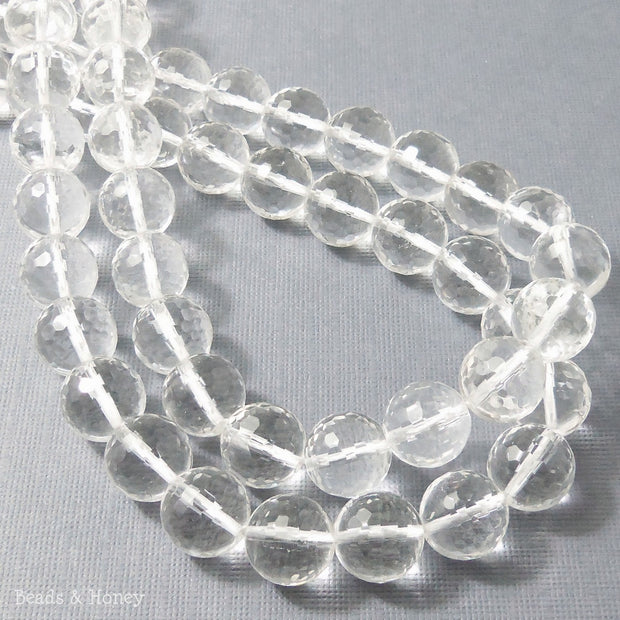 Rock Crystal Quartz Round Faceted 12mm (15.5 Inch Strand)