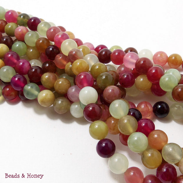 Rainbow New Jade Round Smooth 8mm (Full Strand)