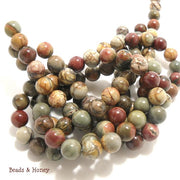 Red Creek Jasper Round Smooth 10mm (Full Strand)