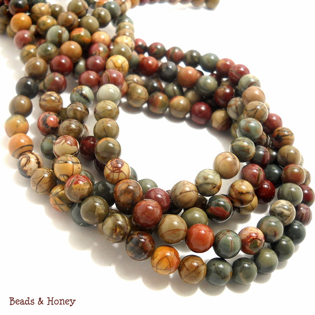 Red Creek Jasper Round Smooth 8mm (16 Inch Strand)