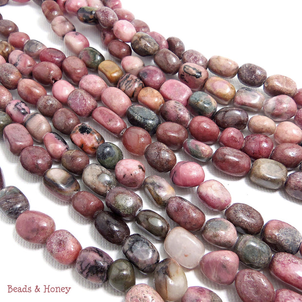 Rhodonite Pebble Irregular 8x10mm (Full Strand)