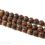 Robles Wood Bead Melon Carved Round 12mm (16 Inch Strand)