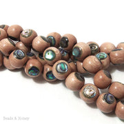 Rosewood with Abalone Shell Inlay Round 12mm (8 Inch Strand)
