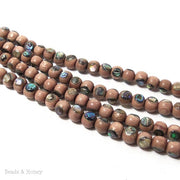 Rosewood with Abalone Shell Inlay Round 6mm (8 Inch Strand)
