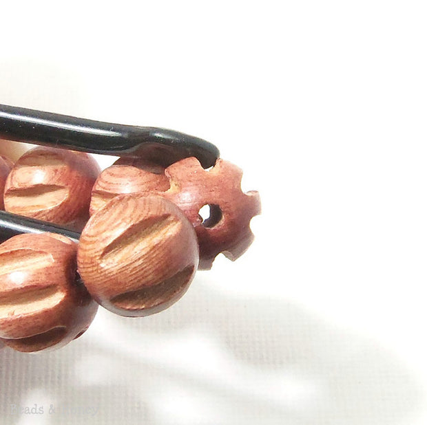 Rosewood Bead Melon Carved Round 12mm (16 Inch Strand)