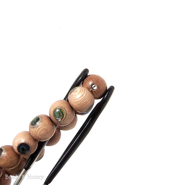 Rosewood with Abalone Shell Inlay Round 10mm (8 Inch Strand)