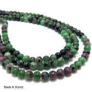 Ruby Zoisite Round Smooth 4mm (Full Strand)