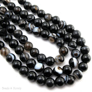 Dakota Stones Sardonyx Large Hole Bead Round 8mm (8 Inch Strand)