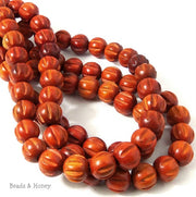 Sibucao Wood Bead Melon Carved Round 12mm (16 Inch Strand)
