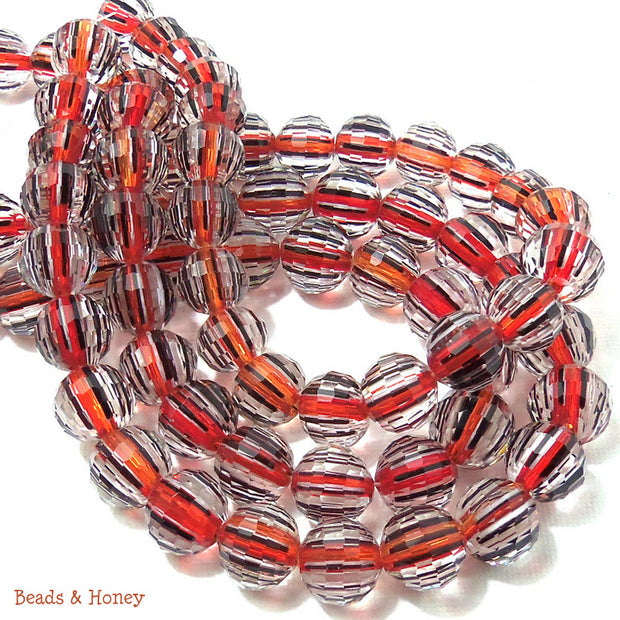 Red Orange Black Striped Crystal Bead Round Faceted 12mm (12pcs)