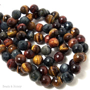 Tiger Eye Multi Colored Round Faceted 10mm (Full Strand)