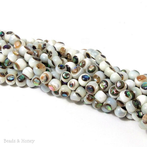 White Troca Shell Bead with Abalone Shell Inlay Round 6mm (8-Inch Strand)