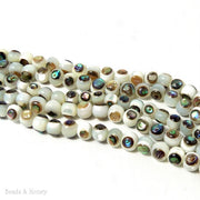 White Troca Shell with Abalone Shell Inlay Round 6mm (Half Strand)