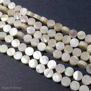 Makabibi Shell Coin Flat 10mm (Half Strand, Qty Pricing)