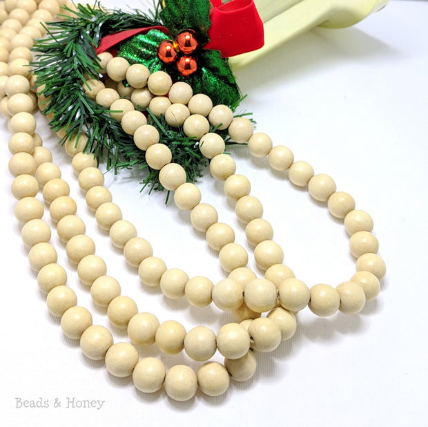 Natural Whitewood Bead Garland Round 12mm (36-Inch Strand)