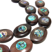 Ebony Wood with Abalone Shell Oval 40x30mm (5pcs)