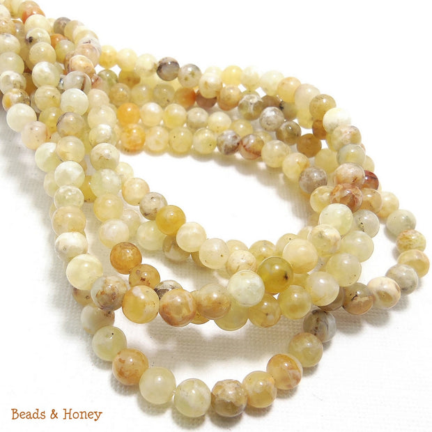 Yellow Opal Round Smooth 5-6mm (Full Strand)