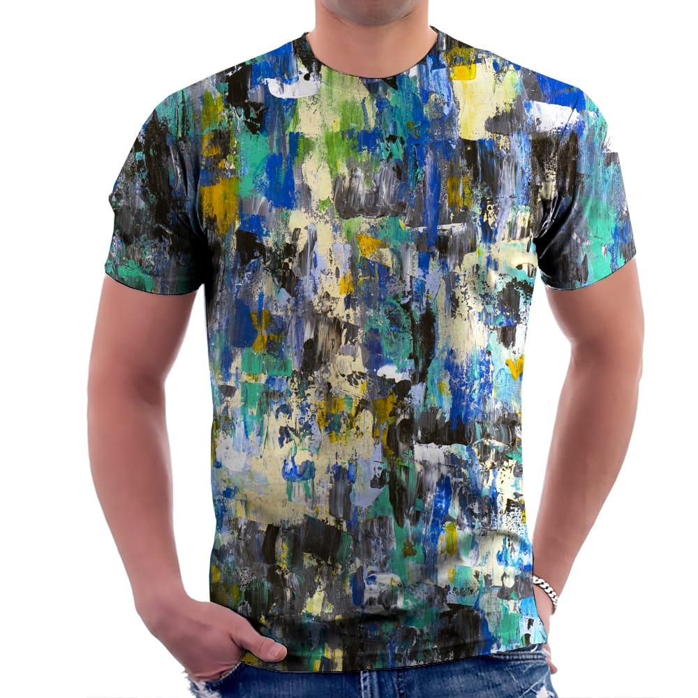 Blue-Abstract Short sleeve T-shirt for Men