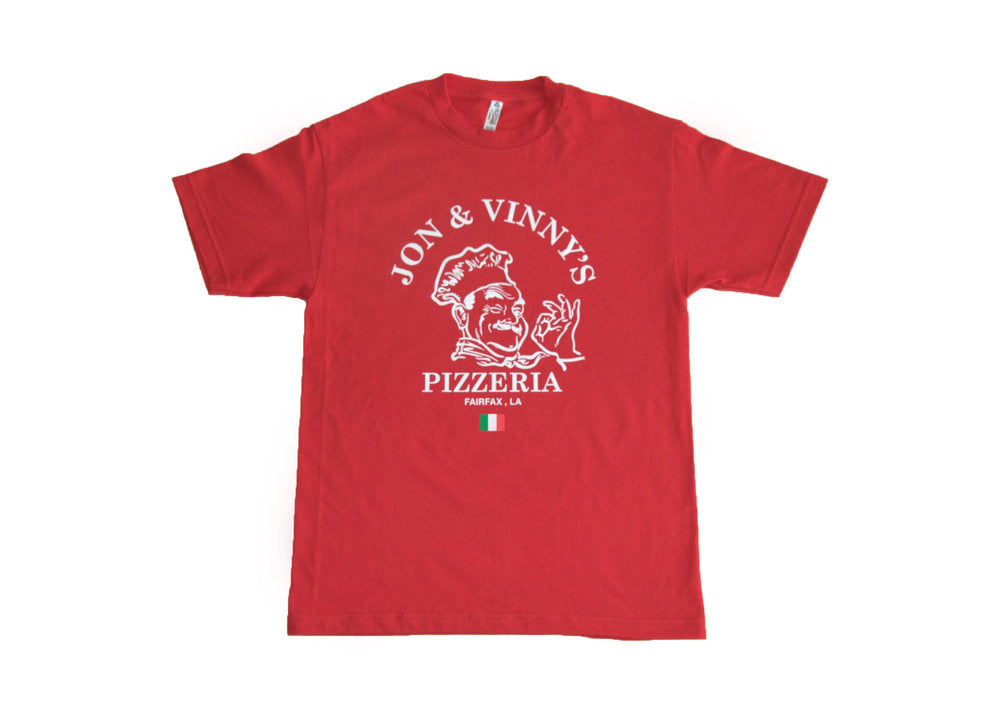 OG Pizza Man Fairfax Tee (Red Tee, White Print)